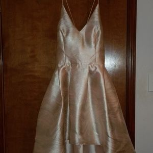 by & by Dresses - High-low pale pink & silver dress w/pockets